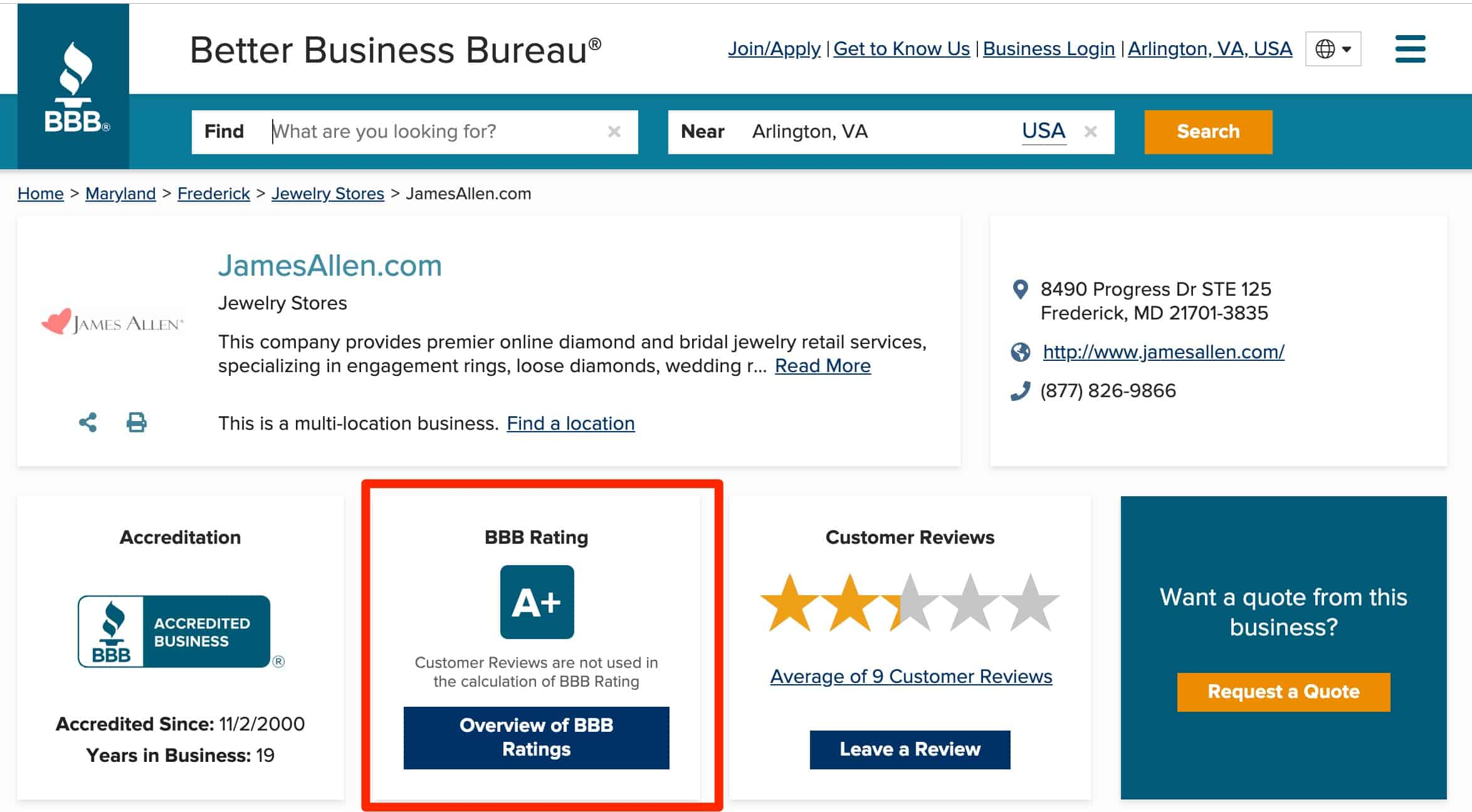 james allen better business bureau