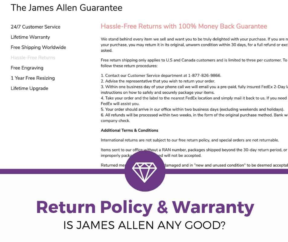 james allen return policy and warranty review