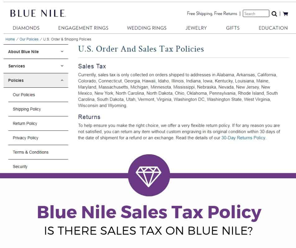 Blue Nile Sales Tax Policy