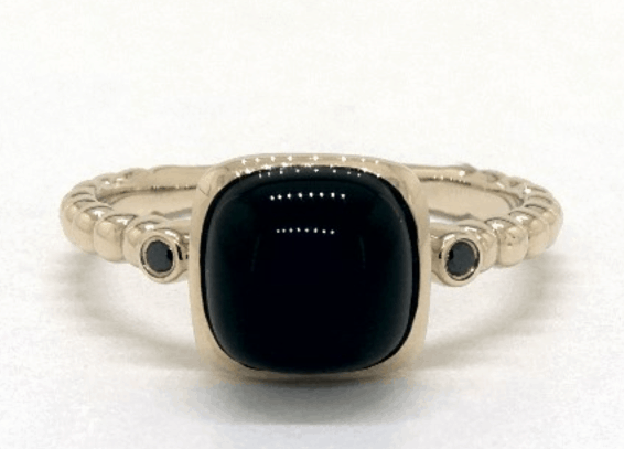 14K Yellow Gold Onyx Cabochon And Black Diamond Ring By EFFY (8.0mm)