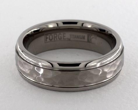 5. Titanium Hammered-Finish Design Ring