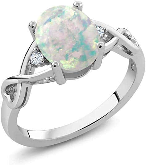 White Simulated Opal and Cubic Zirconia Infinity Ring in .925 Sterling Silver