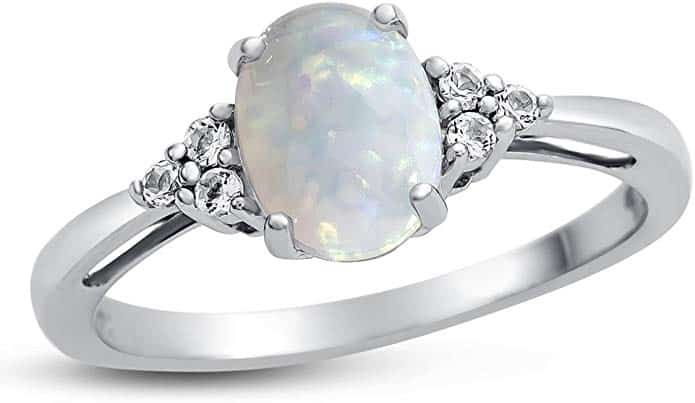 Oval Opal Gemstone and White Topaz Engagement Ring in 10K White Gold