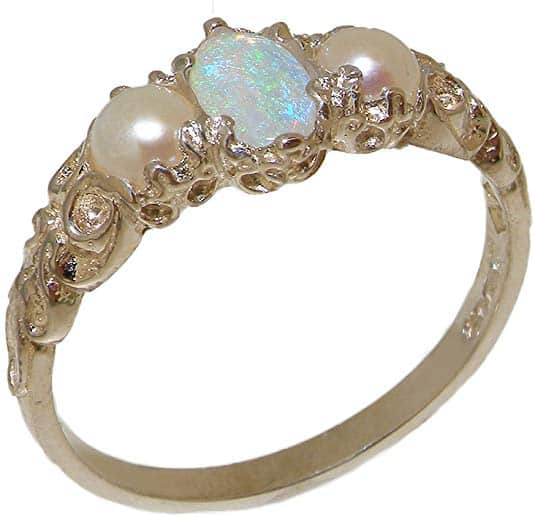 Natural Opal and Cultured Pearl Victorian Engagement Ring in .925 Sterling Silver