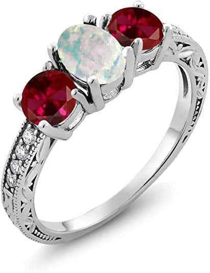 Oval Cabochon White Simulated Opal and Red Created Ruby