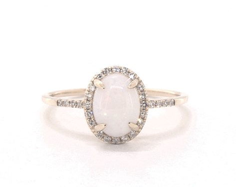 Oval Opal and Diamond Halo Engagement Ring in 14K Yellow Gold