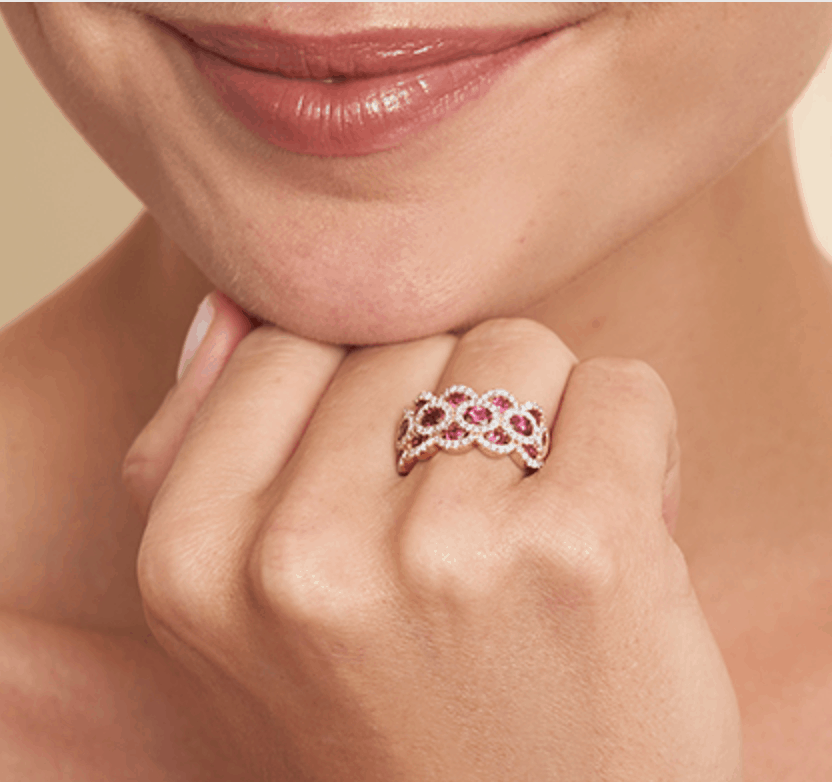 14K Rose Gold Wavy Ruby And Diamond Ring