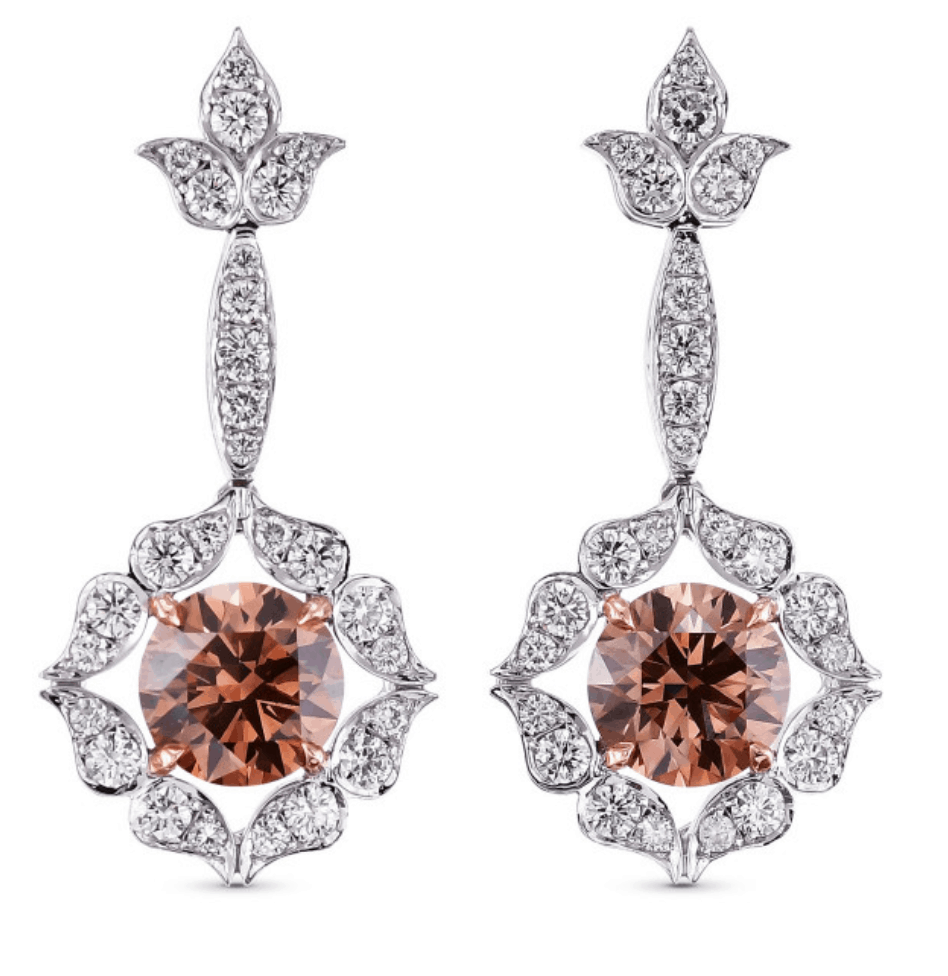 fancy rose gold diamond earrings from leibish online