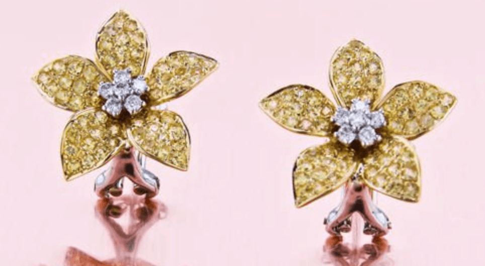 unique flower diamond earring style from brian gavin