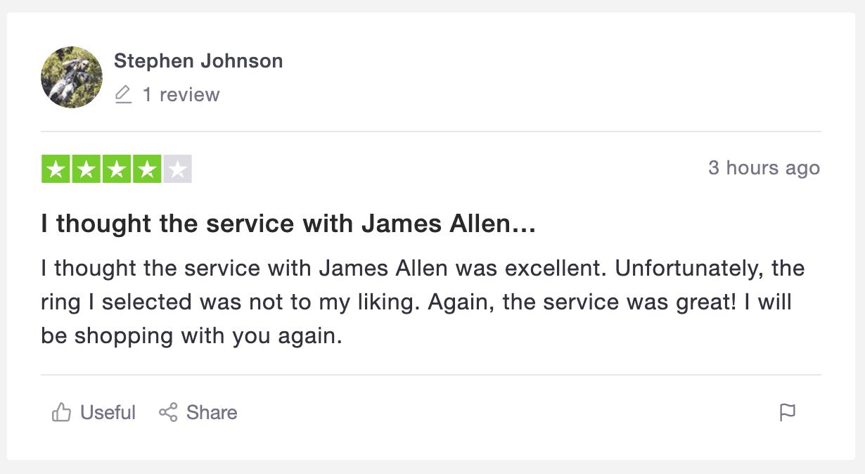 James Allen excellent service