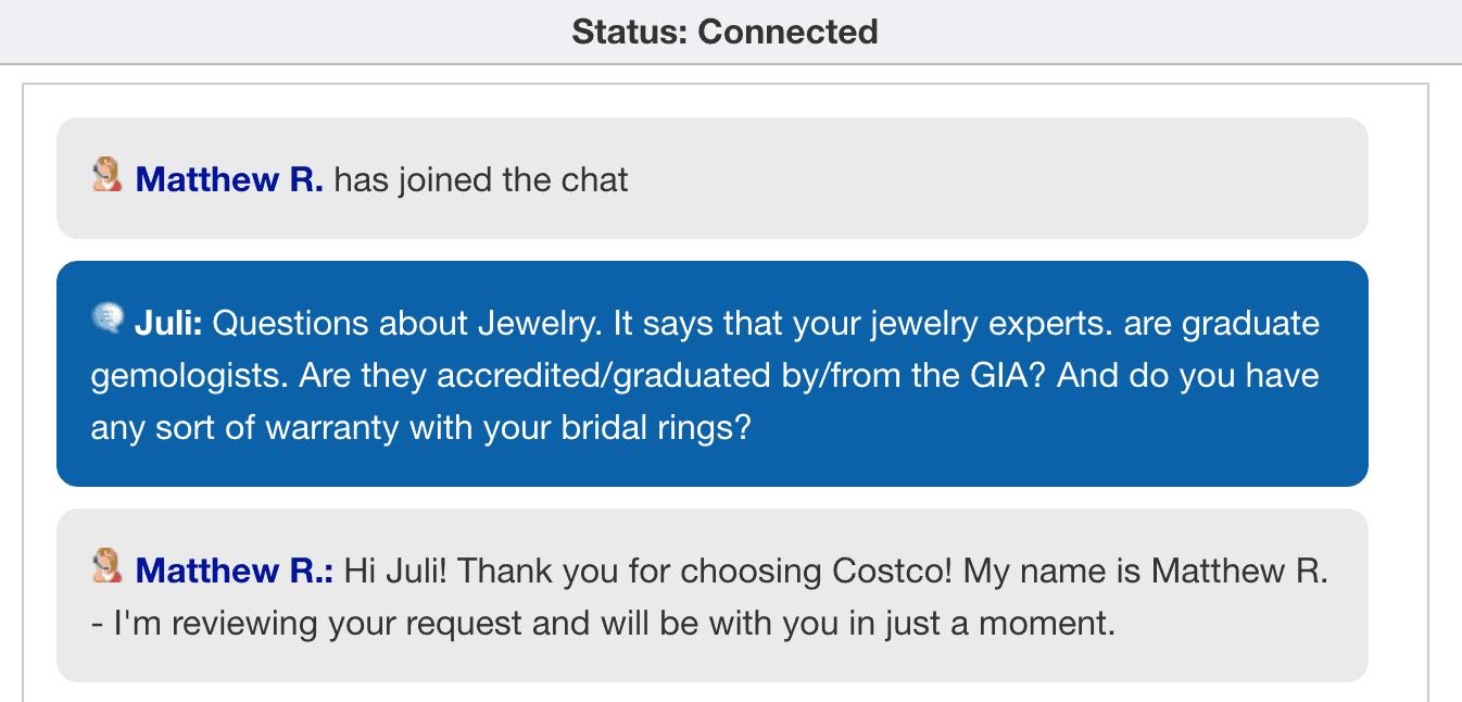 Costco chat service