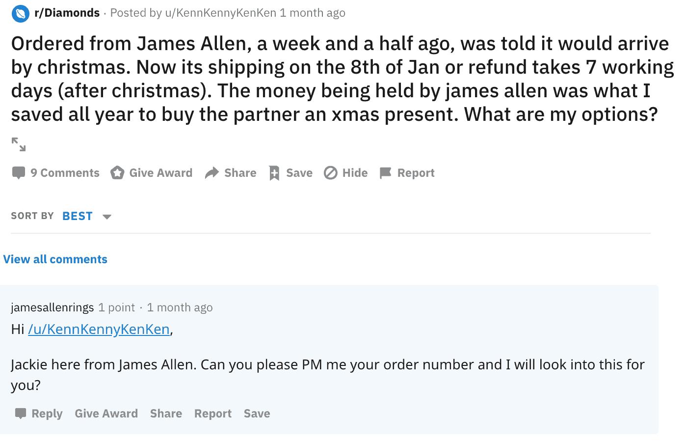 James Allen reddit complaint