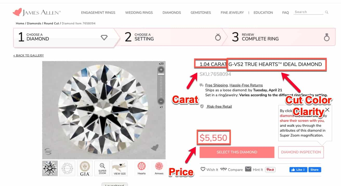 james allen price comparison