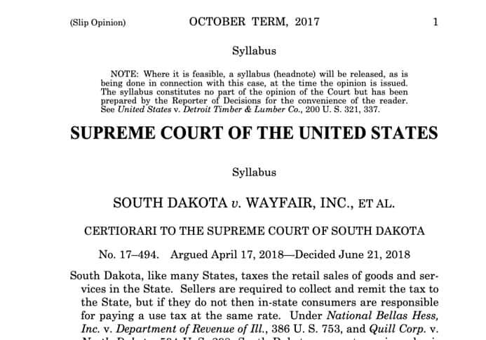 south dakota v wayfair
