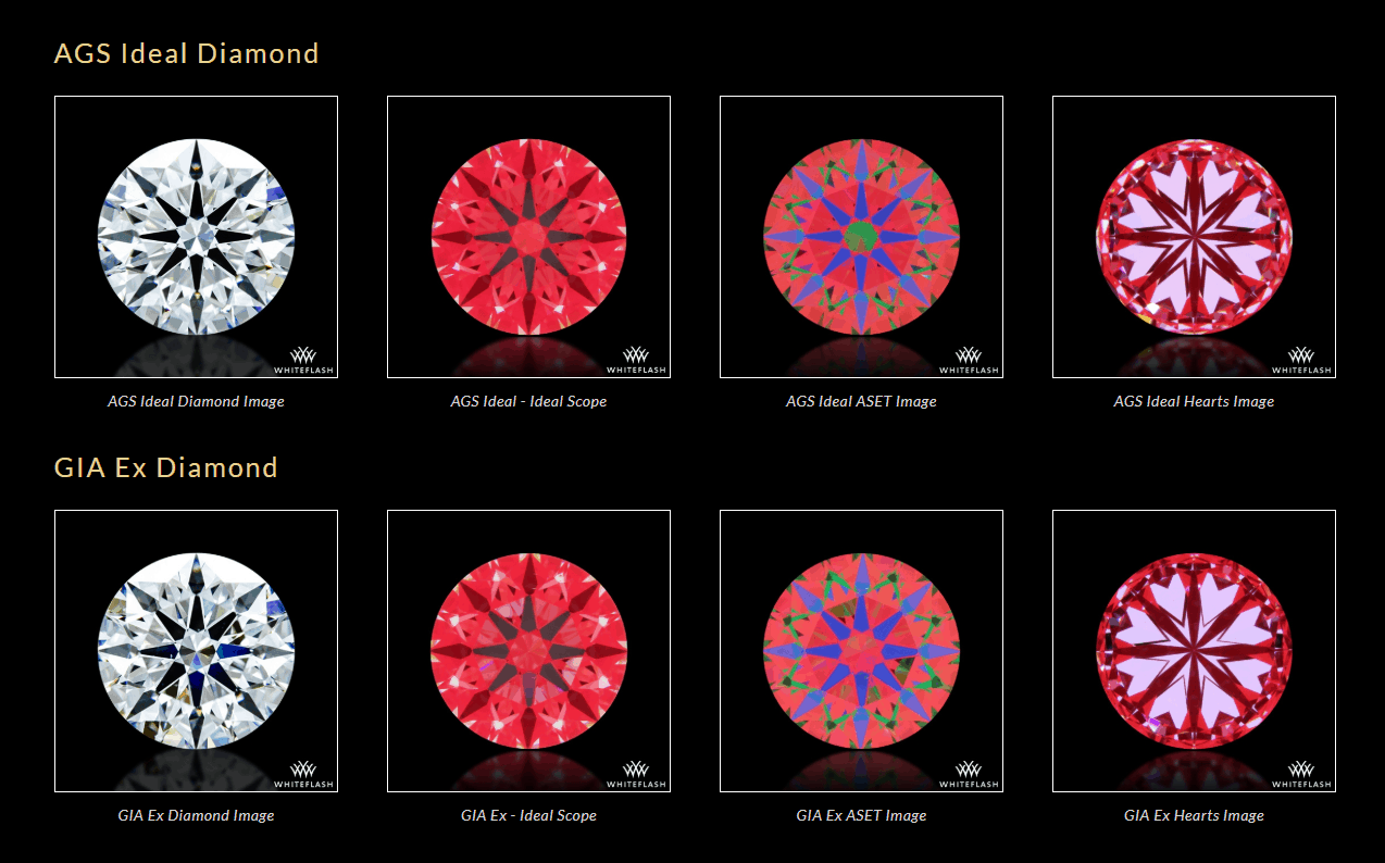 GIA Ex Vs AGS Ideal Diamonds