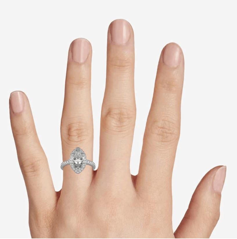 Marquise Shaped Halo Diamond Engagement Ring