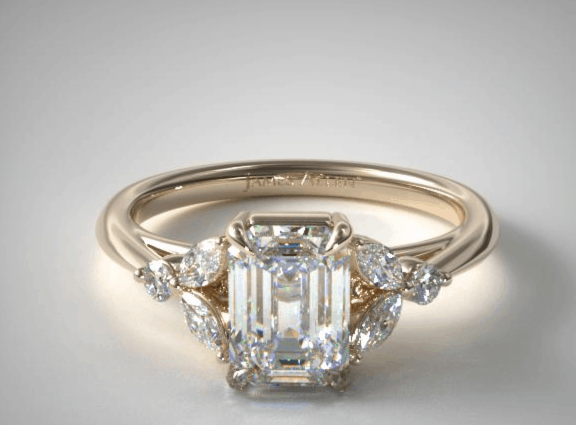 Emerald Cut 14k Diamond Engagement Ring