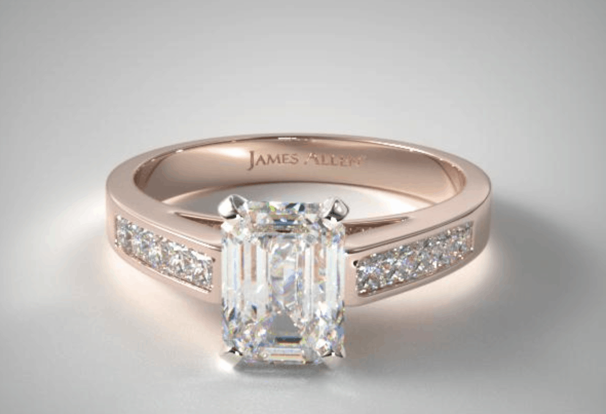 Emeral Cut 14k Diamond Engagement Ring
