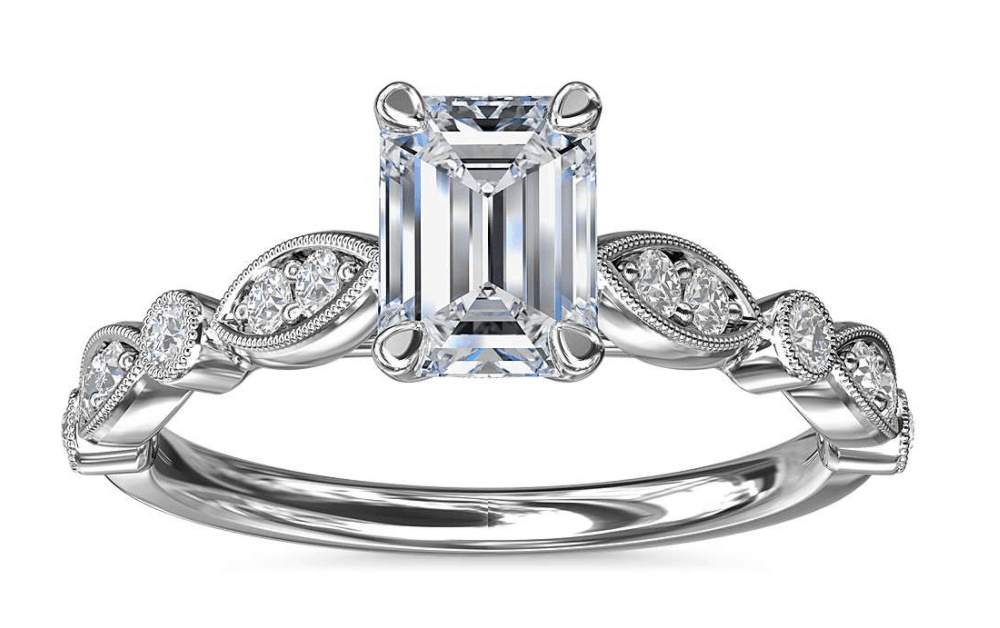 Emerald Cut 14k Milgrain Marquise Diamond Engagement Ring