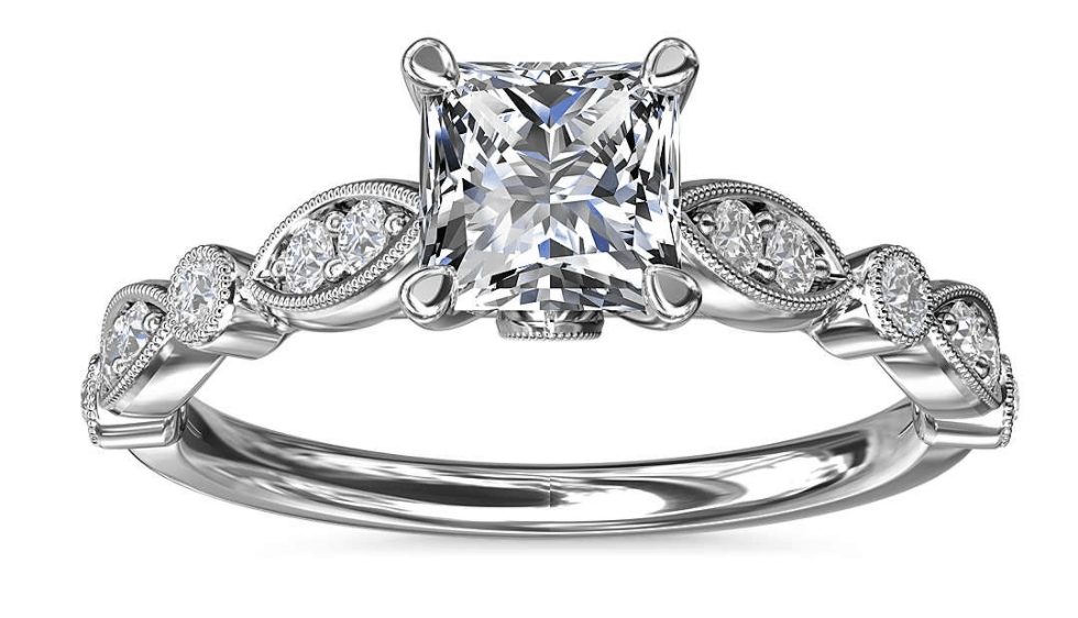 Princess Cut Milgrain Marquise Diamond Engagement Ring
