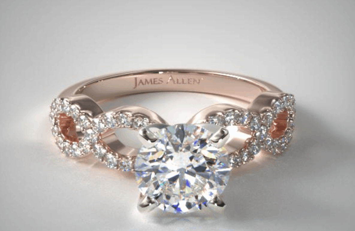 round cut 14k rose gold pave infinity diamond ring