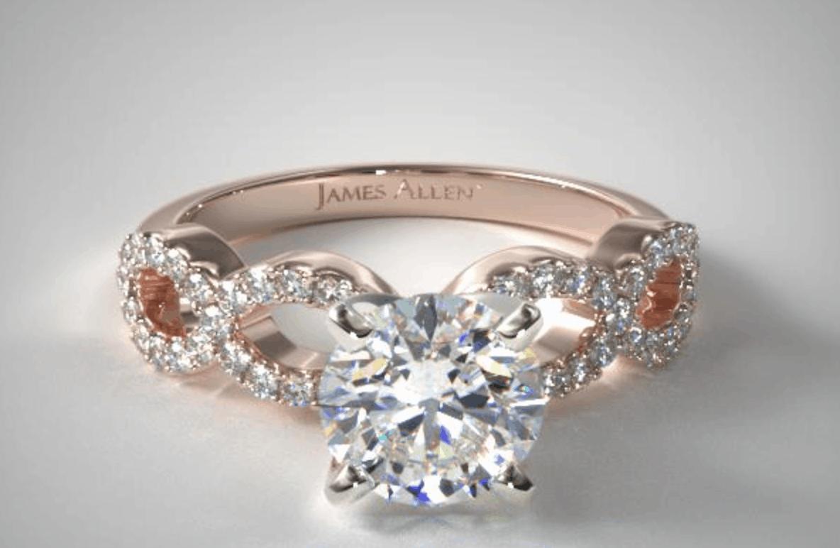 round cut 14k rose gold pave infinity diamond ring
