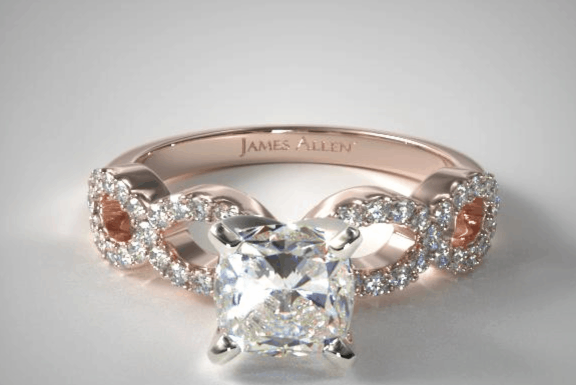 cushion cut 14k rose gold pave infinity diamond ring