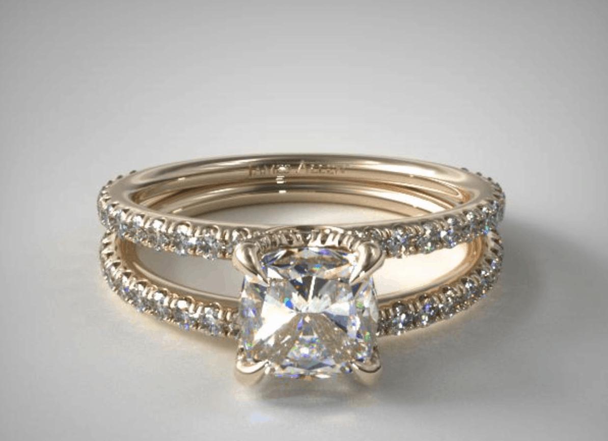 Cushion Cut 14k diamond engagement ring