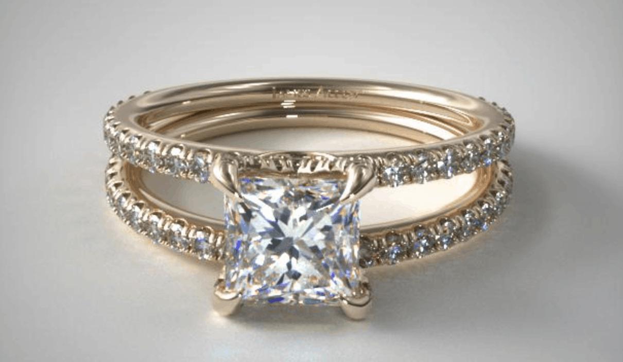 Princess Cut 14k diamond engagement ring