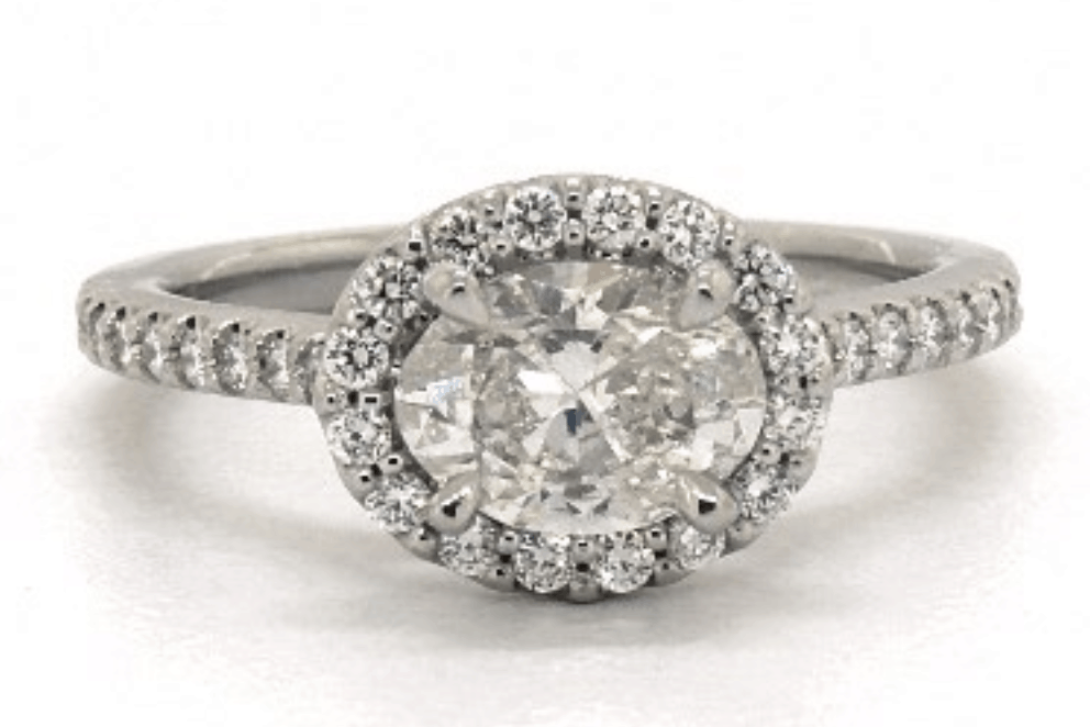 14k White Oval Cut Diamond Engagement Ring