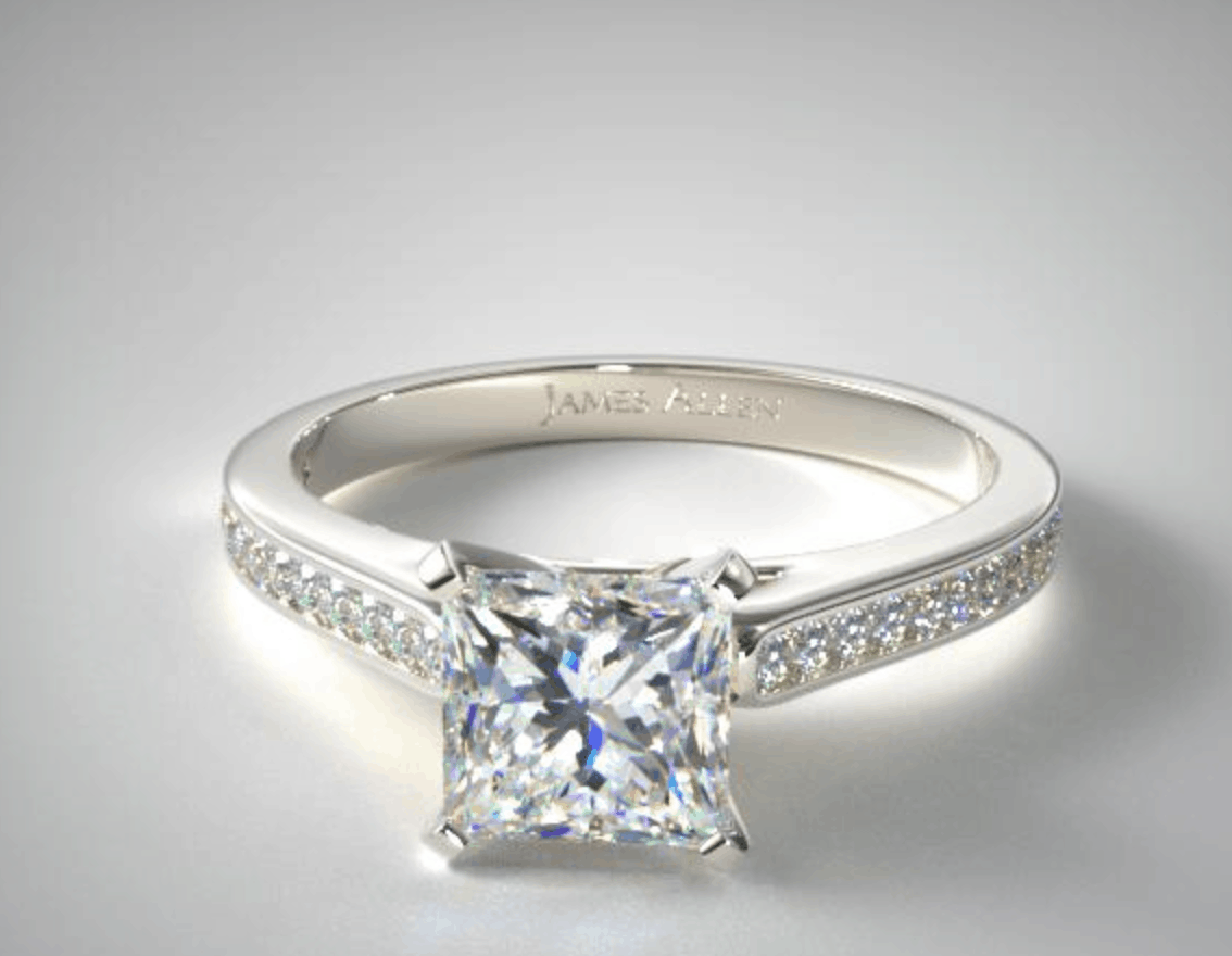 princess cut 14k white gold diamond engagement ring