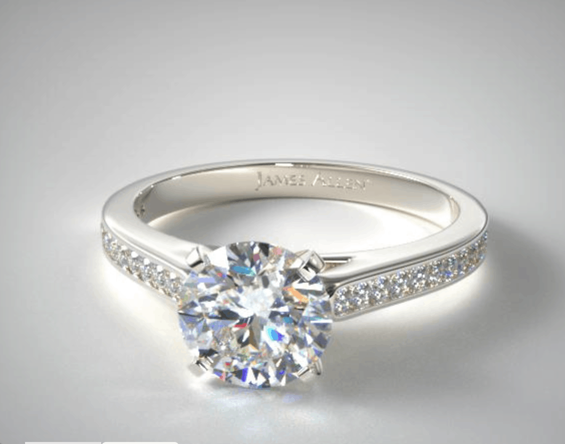 round cut 14k white gold engagement ring