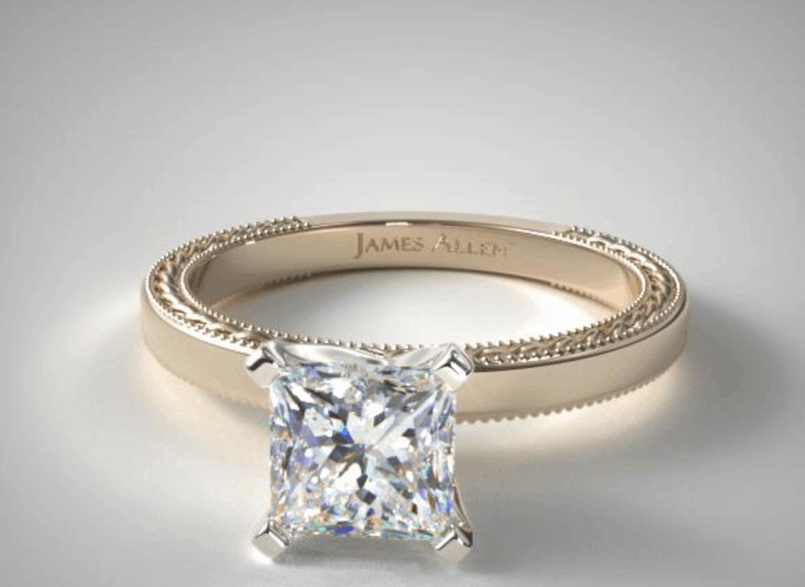 Princess Cut 14k yellow gold engagement ring