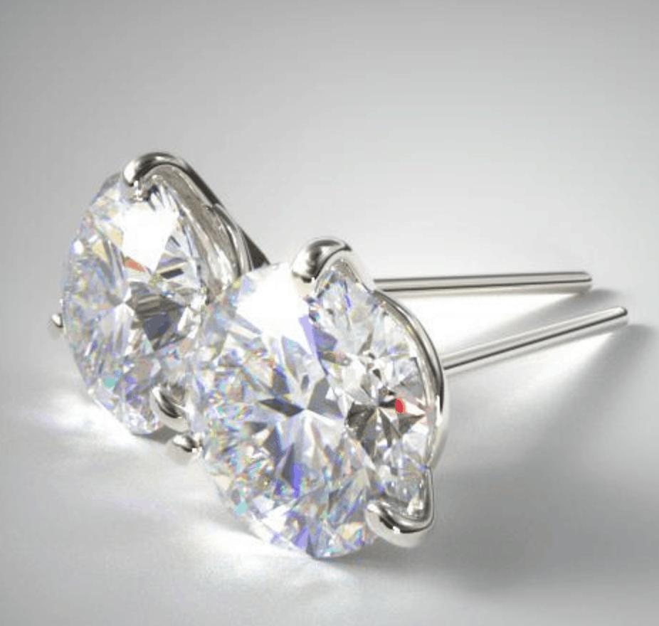 18k white gold three pong earrings