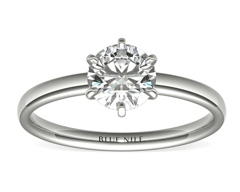 14k white gold solitaire setting ring