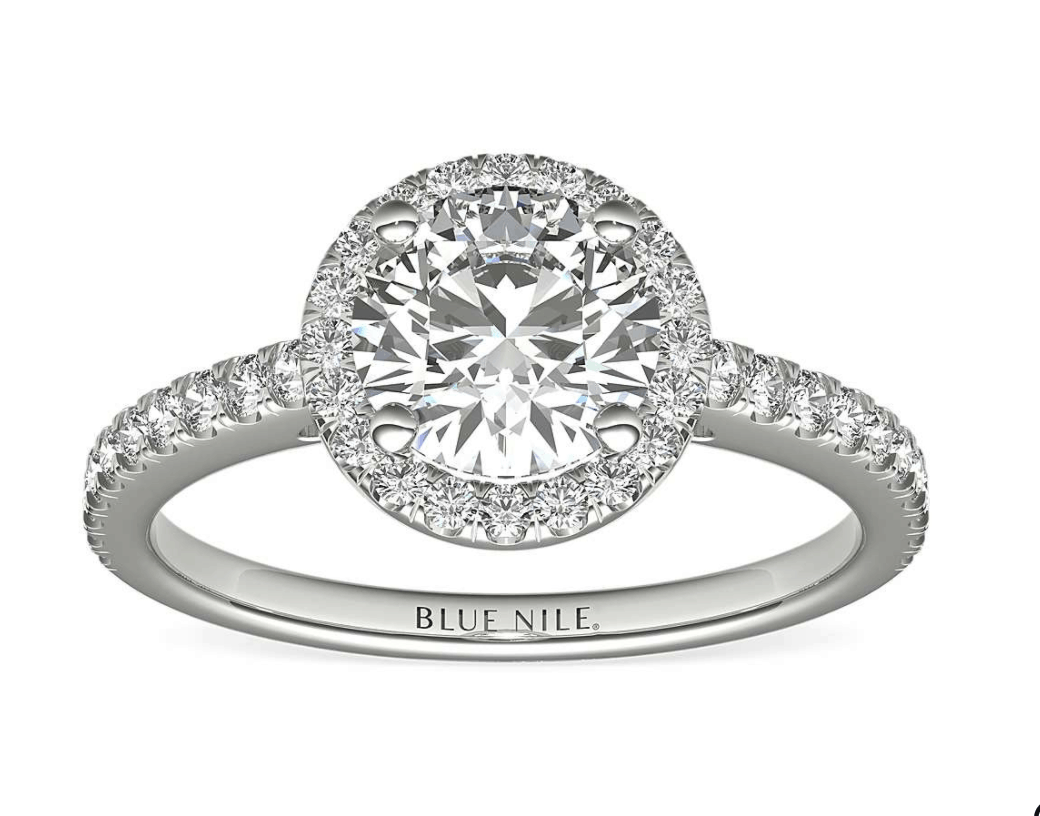 14k white gold halo setting ring