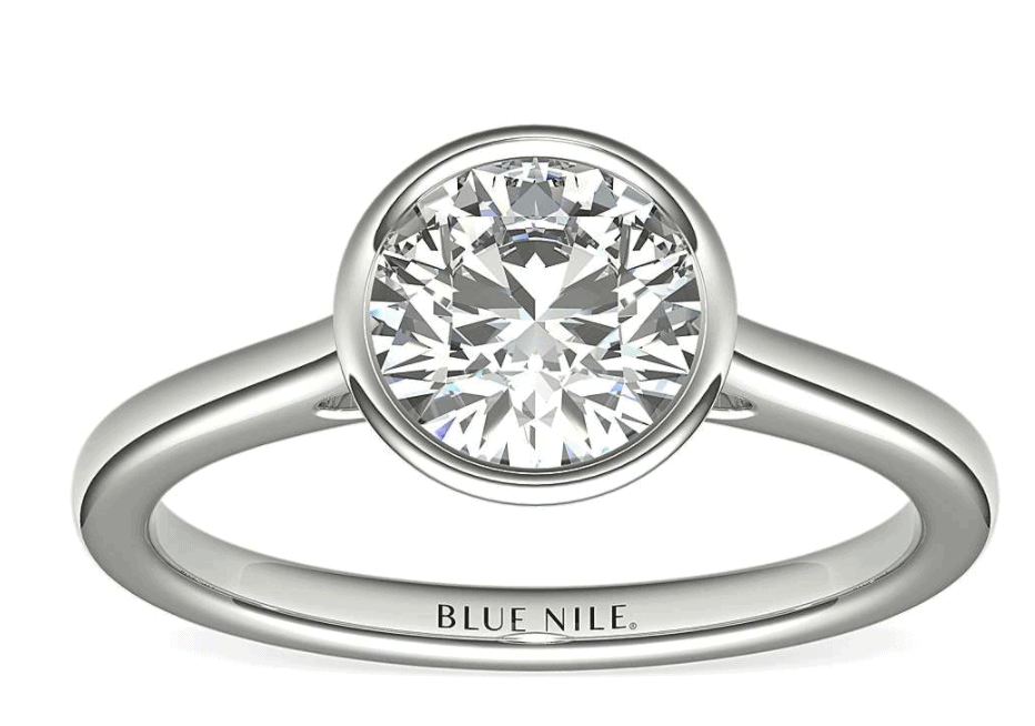 14k white gold bezel setting diamond ring