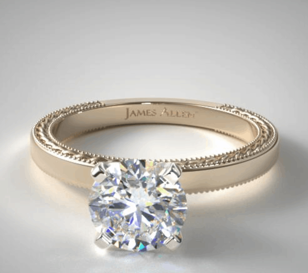 Round Cut 14k Yellow Gold Engagement Ring