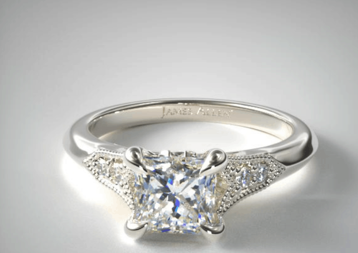 james allen 14k pave engagement ring
