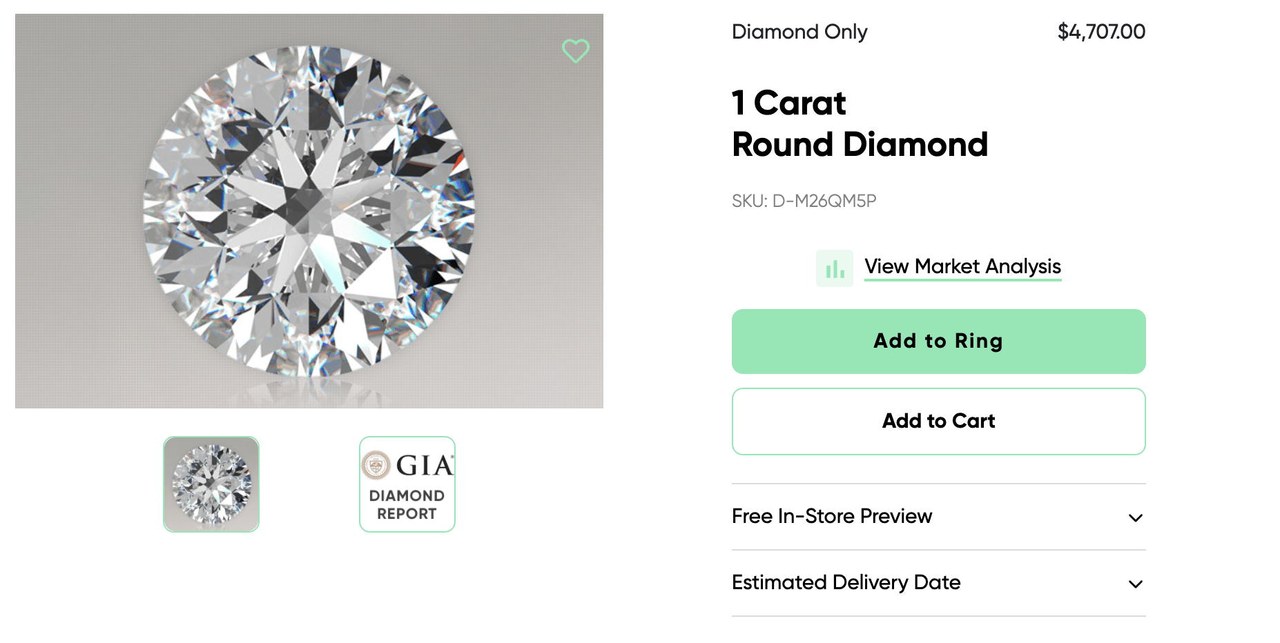 ritani 1 carat round cut diamond