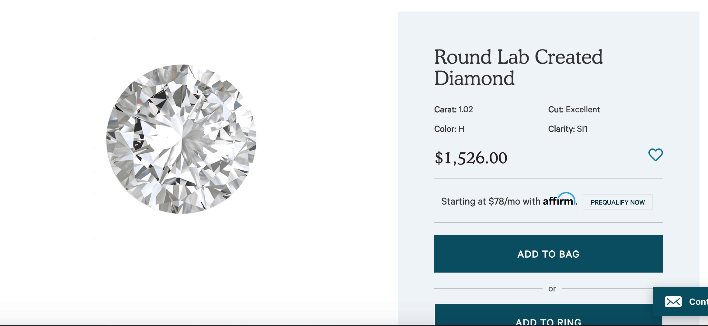 clean origin round cut lab created diamond