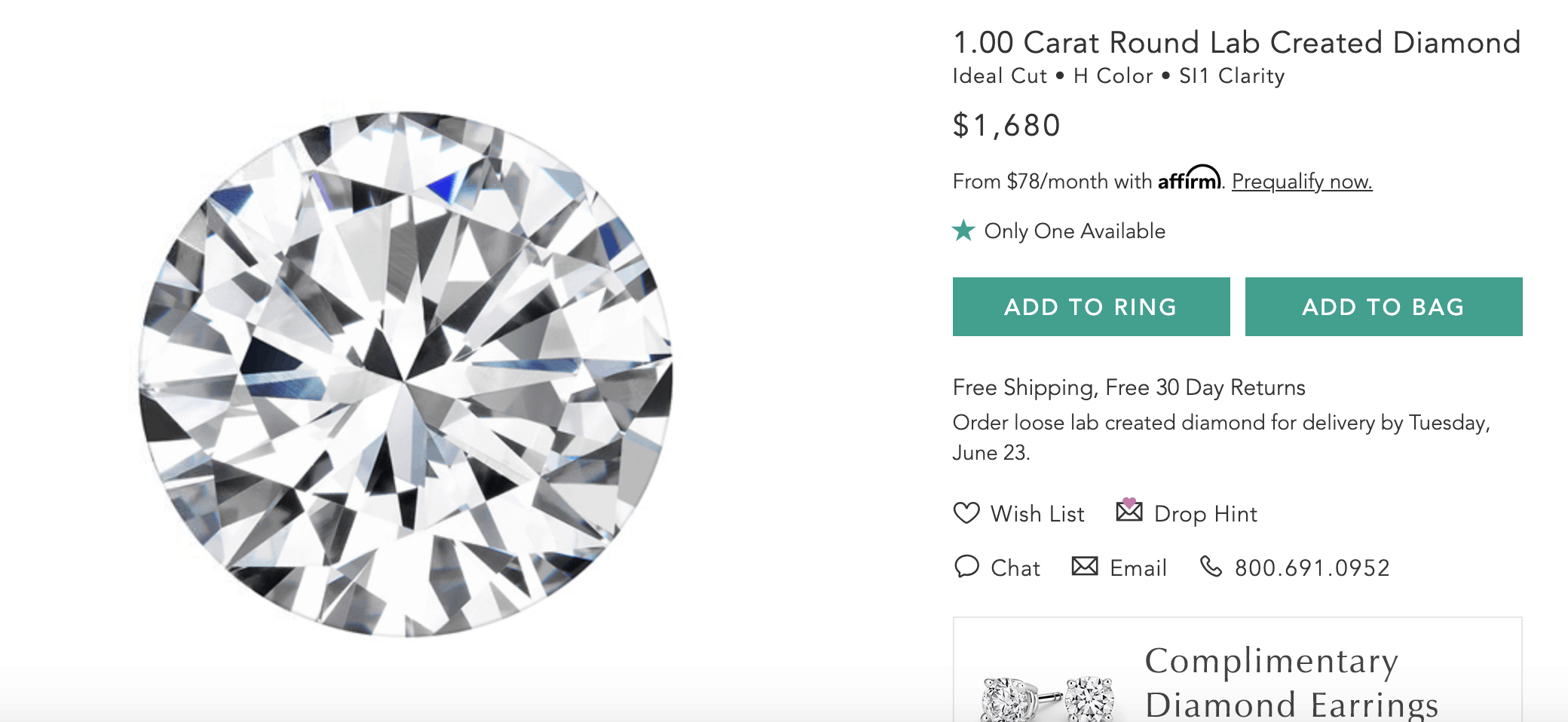 brilliant earth 1 carat round cut lab created diamond