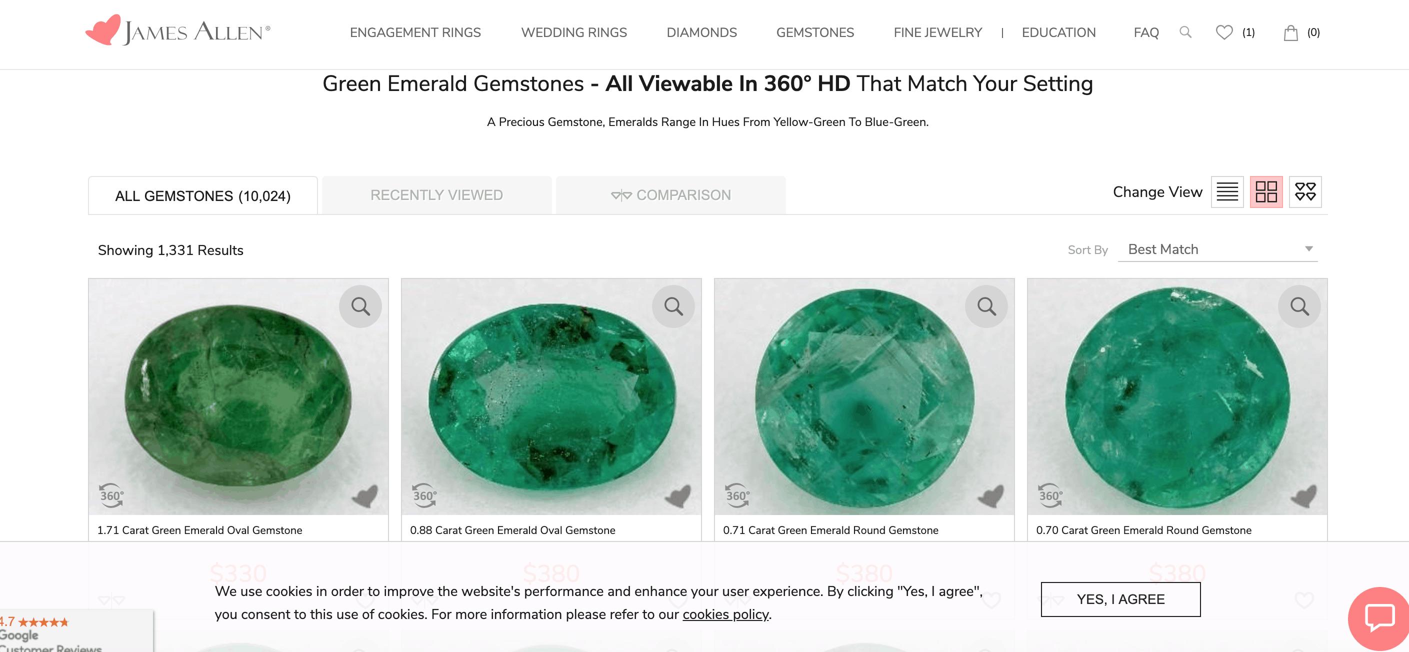 james allen emerald gemstones