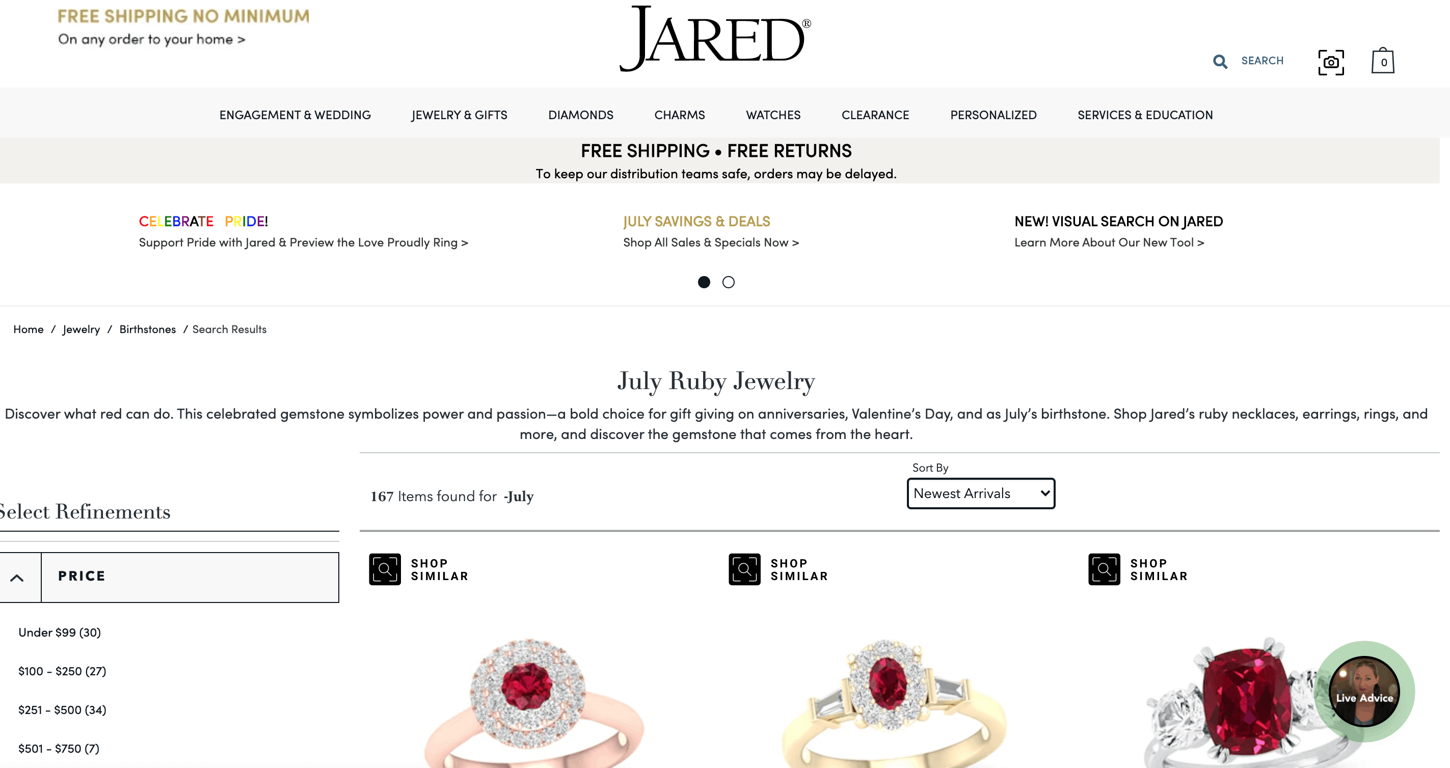 jared red ruby jewelry