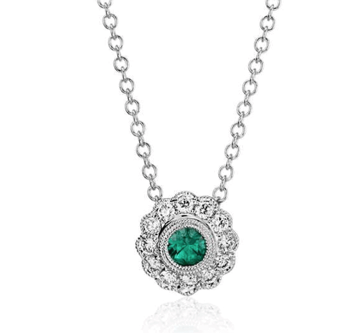 blue nile emerald necklace