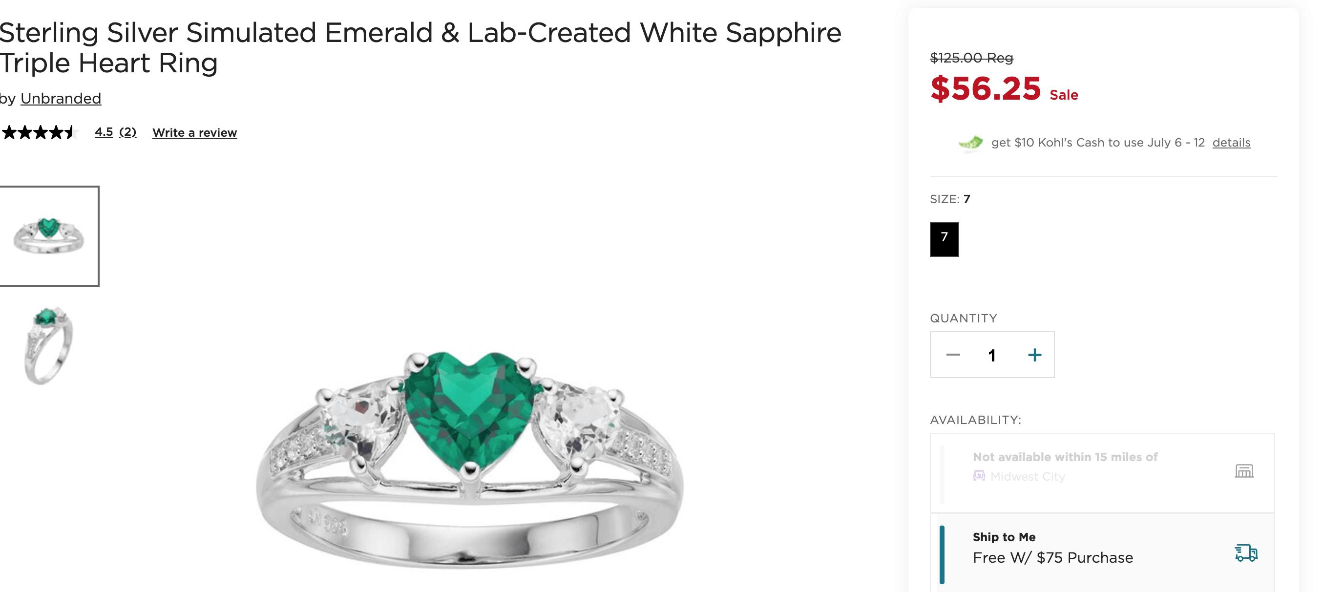 kohls emerald heart ring