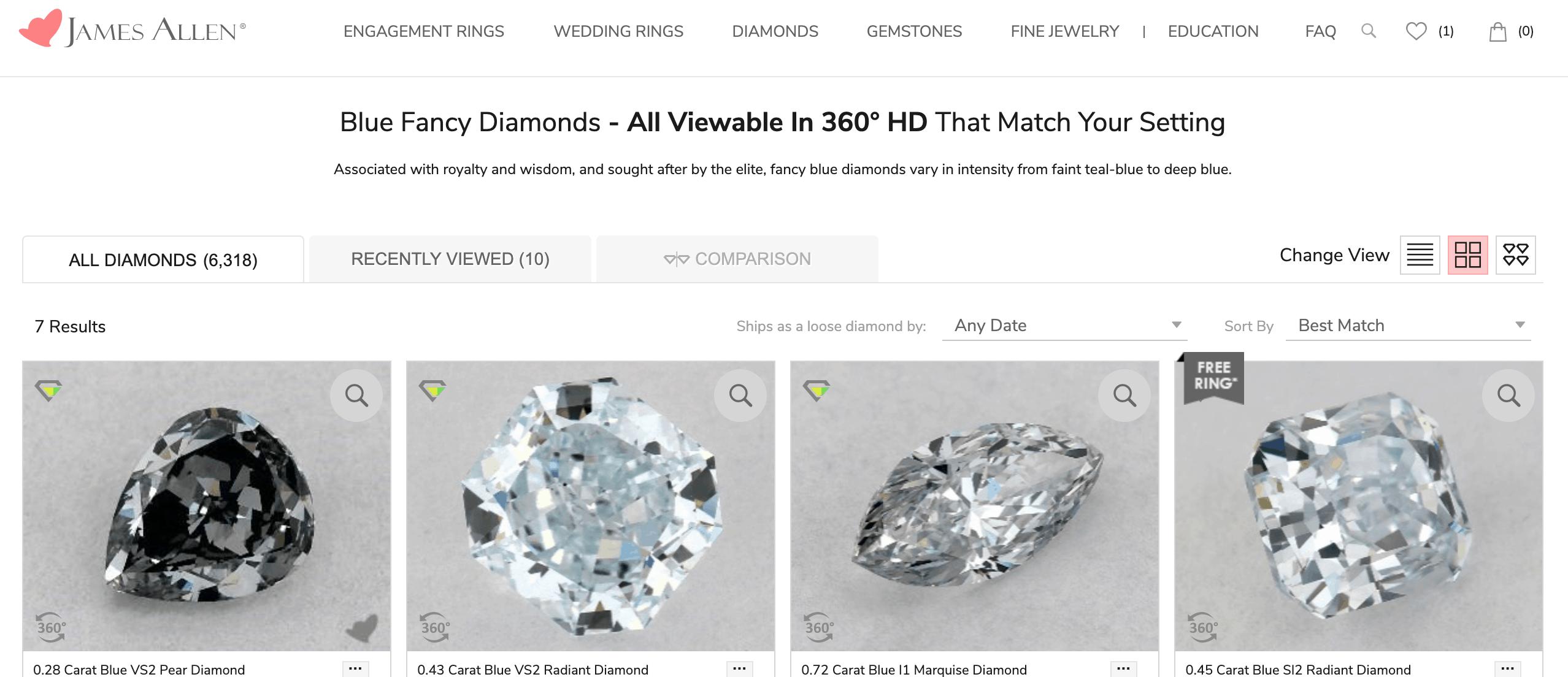 buying blue diamonds at James Allen