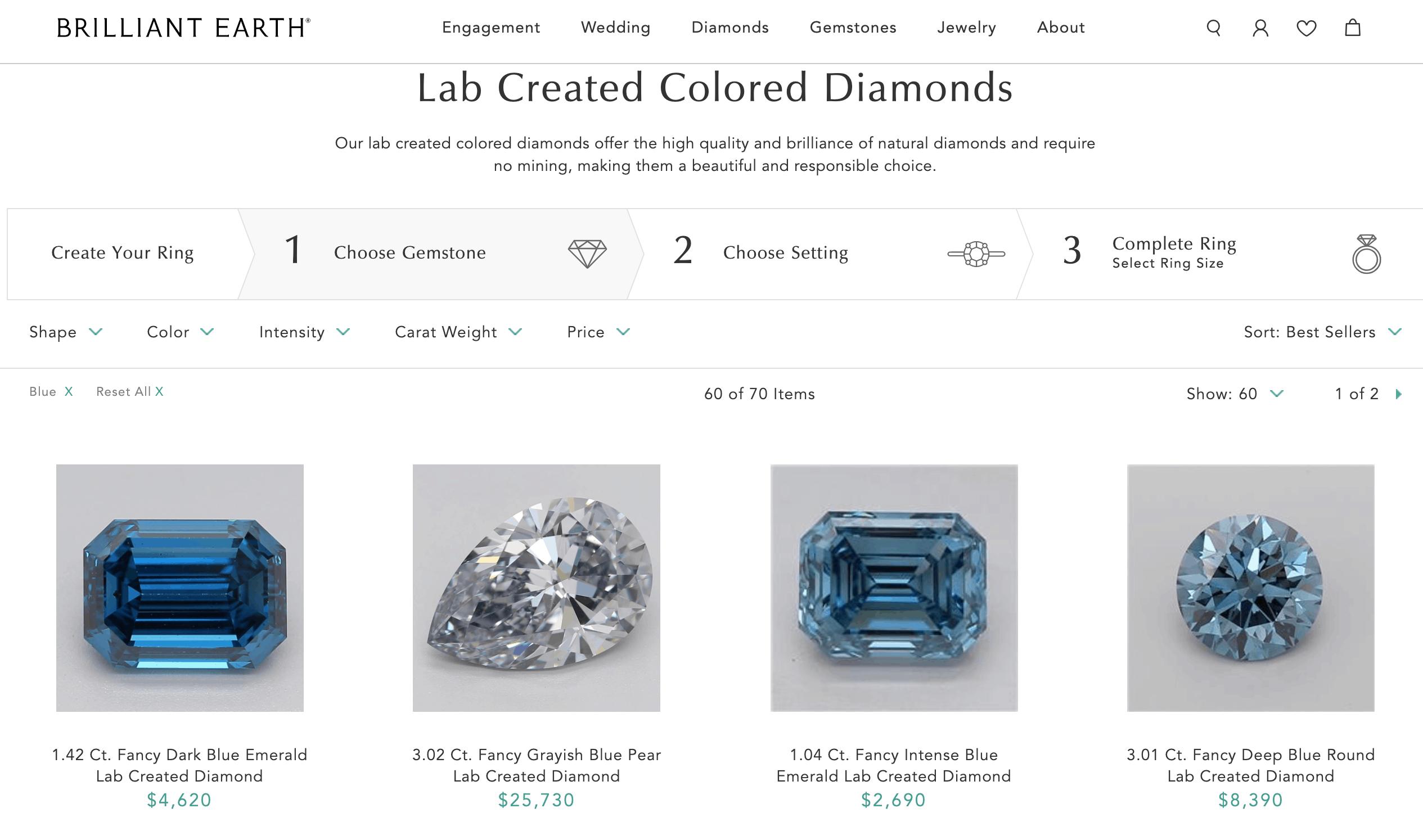 Blue diamonds at Brilliant Earth