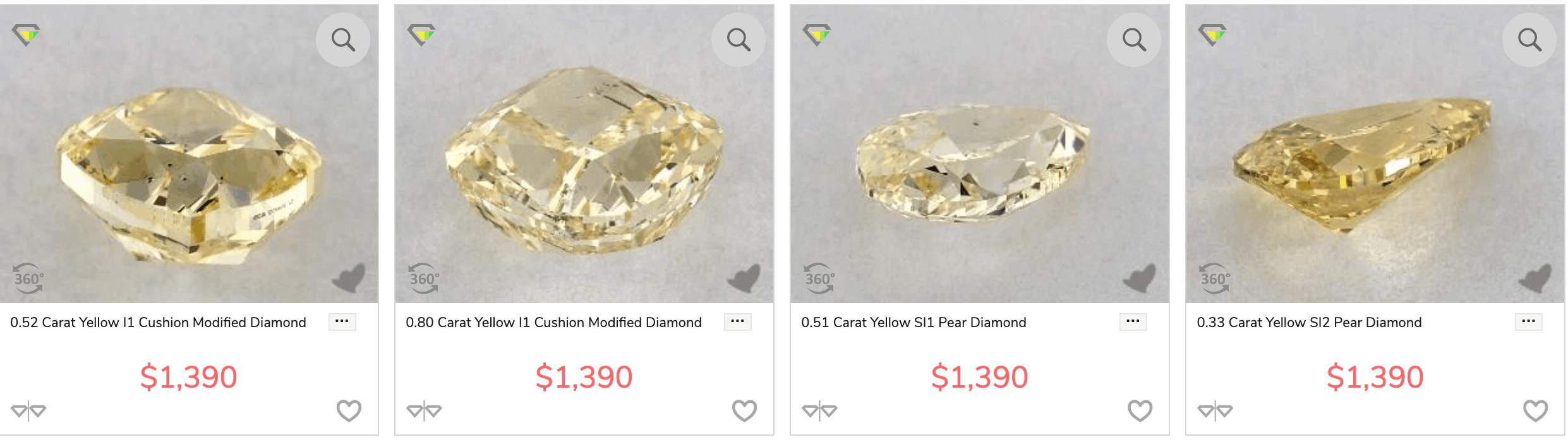 Yellow diamonds cut