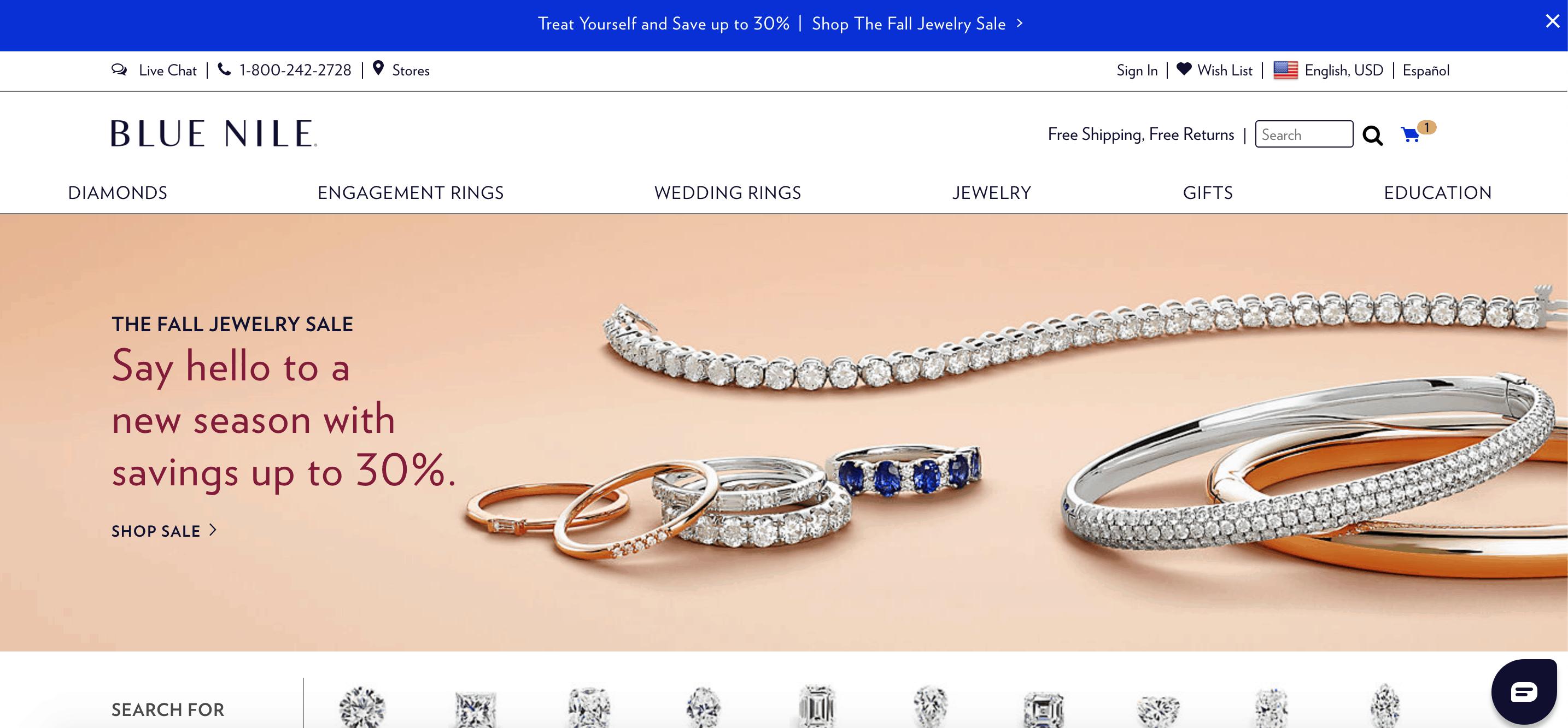 blue nile homepage